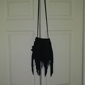 Urban Outfitters Black Suede Fringe Crossbody